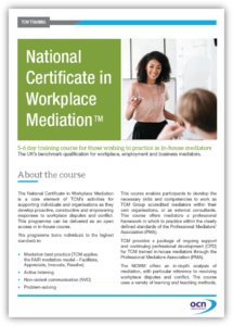 The National Certificate in Workplace Mediation